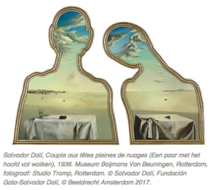 Salvador Dali, Couple aux tetes pleines de nuages, displayed in Mad About Surrealism